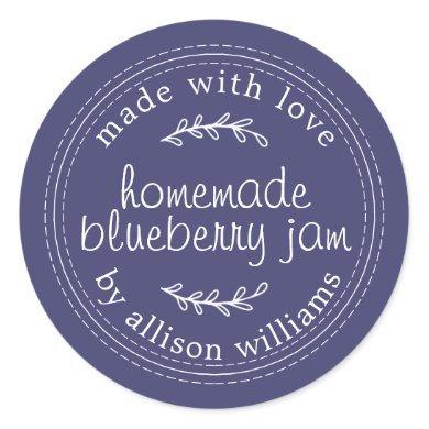 Rustic Homemade Blueberry Jam Can Navy Blue Jar Classic Round Sticker