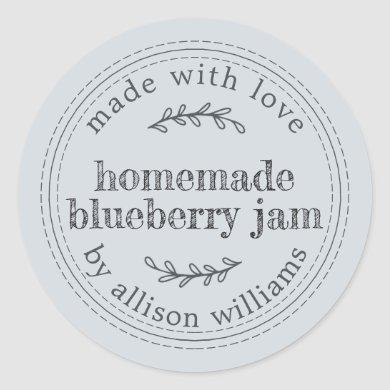 Rustic Homemade Blueberry Jam Can Pastel Blue Classic Round Sticker