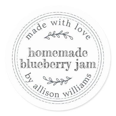 Rustic Homemade Blueberry Jam Canning Black White Classic Round Sticker