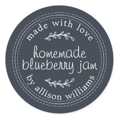 Rustic Homemade Blueberry Jam Canning Blue Jar Classic Round Sticker