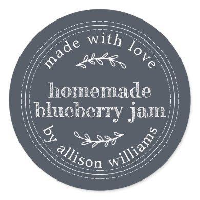 Rustic Homemade Blueberry Jam Canning Dark Blue Classic Round Sticker