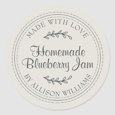 Rustic Homemade Blueberry Jam Canning Gray Classic Round Sticker