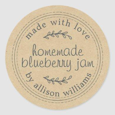 Rustic Homemade Blueberry Jam Canning Kraft Paper Classic Round Sticker