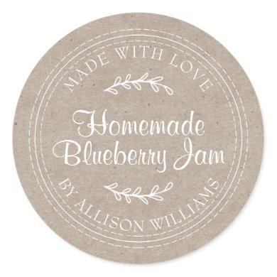 Rustic Homemade Blueberry Jam Canning Kraft Paper Classic Round Sticker