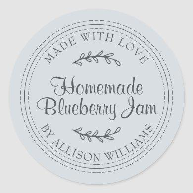 Rustic Homemade Blueberry Jam Canning Pastel Blue Classic Round Sticker