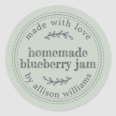 Rustic Homemade Blueberry Jam Canning Pastel Green Classic Round Sticker