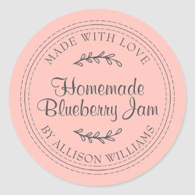 Rustic Homemade Blueberry Jam Canning Pastel Pink Classic Round Sticker