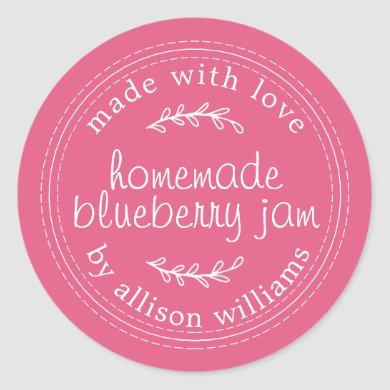Rustic Homemade Blueberry Jam Canning Pink Jar Classic Round Sticker