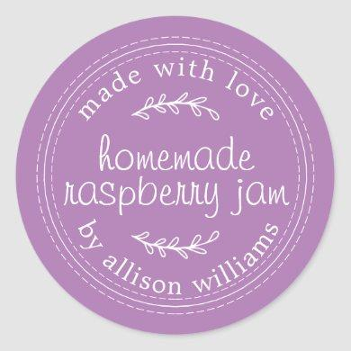 Rustic Homemade Blueberry Jam Canning Purple Jar Classic Round Sticker
