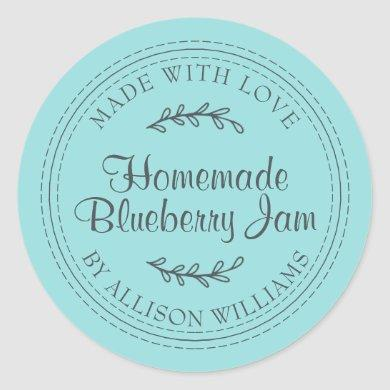 Rustic Homemade Blueberry Jam Canning Turquoise Classic Round Sticker