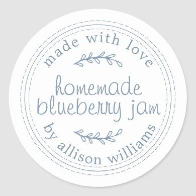 Rustic Homemade Blueberry Jam Canning Vintage Blue Classic Round Sticker