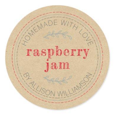 Rustic Homemade Jam Can Kraft Paper Jar Classic Round Sticker