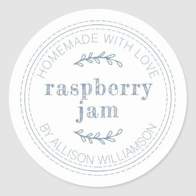 Rustic Homemade Jam Can Vintage Blue Jar Classic Round Sticker