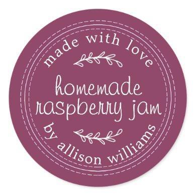 Rustic Homemade Raspberry Jam Canning Purple Jar Classic Round Sticker