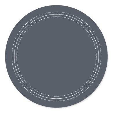 Rustic Homemade Simple Dark Blue Write On Classic Round Sticker