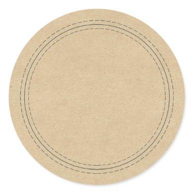 Rustic Homemade Simple Kraft Paper Write On Classic Round Sticker