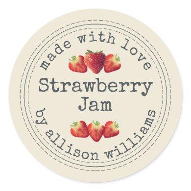 Rustic Homemade Strawberry Jam Antique White Classic Round Sticker