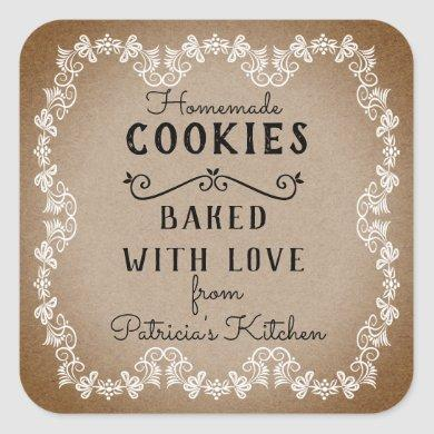 Rustic Kraft Baked With  Love Homemade Cookies Square Sticker