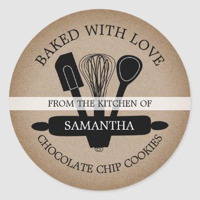Rustic Kraft Homemade Cookies Baked With love Classic Round Sticker