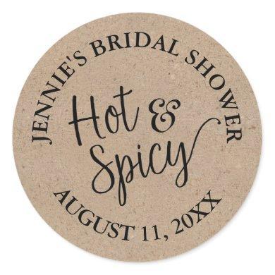 Rustic Kraft Script Bridal Shower Salsa Jar Classic Round Sticker