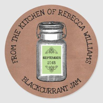 Rustic Mason From the kitchen of  | Jam or Jelly Classic Round Sticker