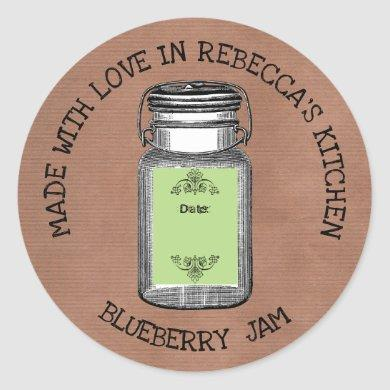 Rustic Mason Jar Vintage Canning| Jam Homemade Classic Round Sticker