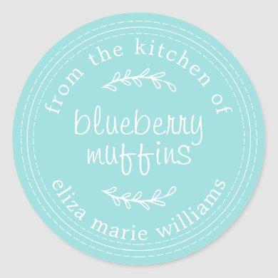 Rustic Modern Baked Goods Blueberry Muffins Blue Classic Round Sticker