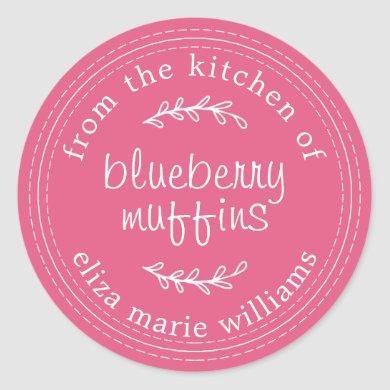Rustic Modern Baked Goods Blueberry Muffins Pink Classic Round Sticker
