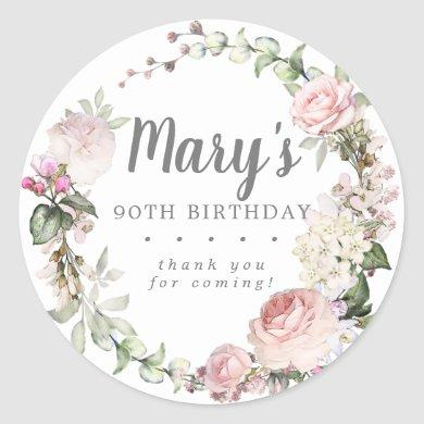 Rustic Pink Floral 90th Birthday Thank You Classic Round Sticker