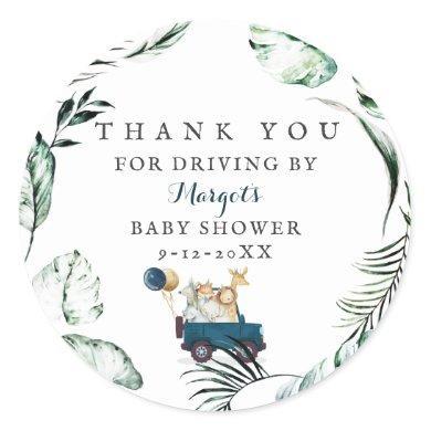 Safari Animals Drive By Baby Shower Greenery Gold Classic Round Sticker