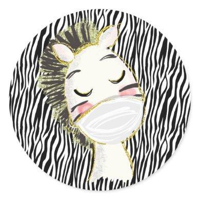 Safety Zebra Animal Wearing Face Mask Classic Round Sticker