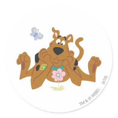Scooby-Doo Admiring Flower Classic Round Sticker