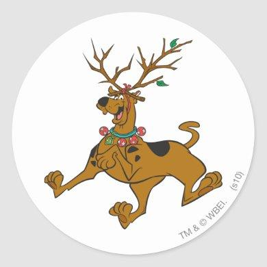 Scooby-Doo Christmas Holiday Antlers Classic Round Sticker