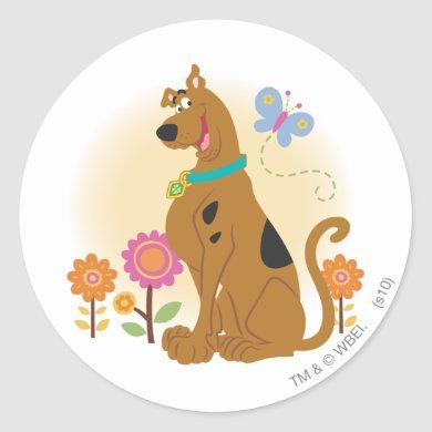 Scooby-Doo Following Butterfly Classic Round Sticker