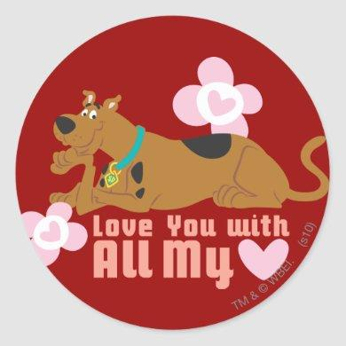 "Scooby-Doo ""Love You With All My Heart"" Classic Round Sticker"