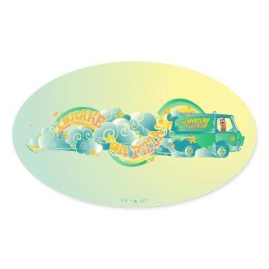 "Scooby-Doo | Mystery Machine ""I Brake For Pizza"" Oval Sticker"