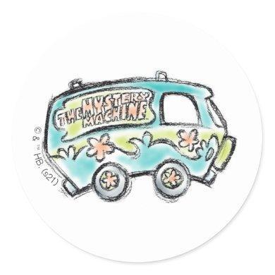 Scooby-Doo | Mystery Machine Sketch Classic Round Sticker