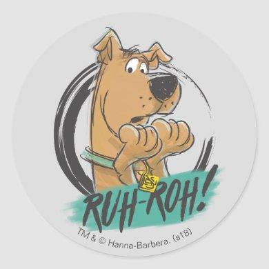 "Scooby-Doo ""Ruh Roh!"" Marker Sketch Classic Round Sticker"