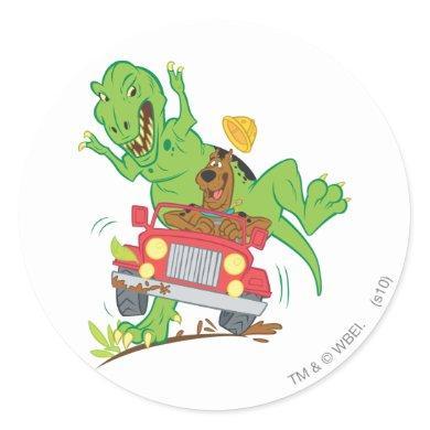 Scooby-Doo T-Rex Attack Classic Round Sticker