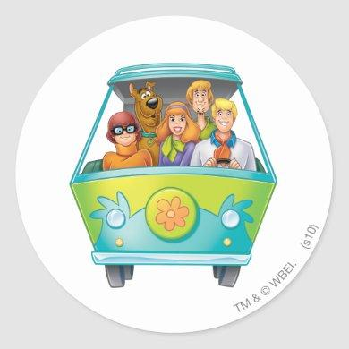 Scooby-Doo & The Gang Mystery Machine Airbrush Classic Round Sticker