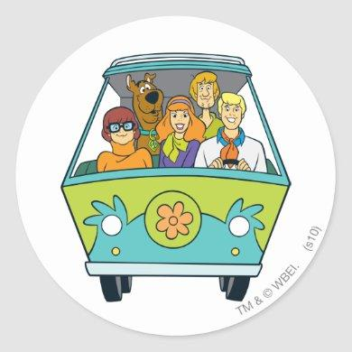 Scooby-Doo & The Gang Mystery Machine Classic Round Sticker