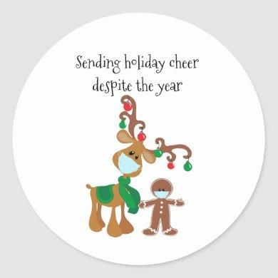 Sending Holiday Cheer Despite the Year 2020 Classic Round Sticker