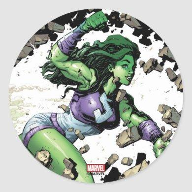 She-Hulk Smashing Through Blocks Classic Round Sticker