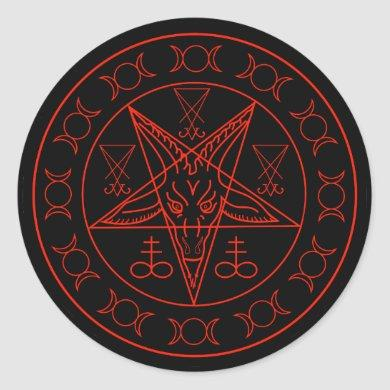 Sigil of Baphomet triple moon and sigil of lucifer Classic Round Sticker