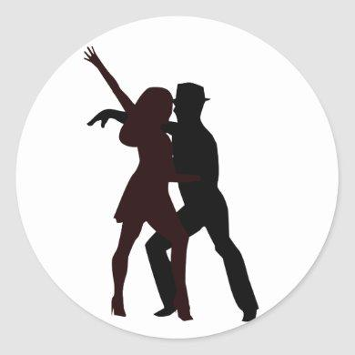Silhouette of Salsa Dancers Classic Round Sticker
