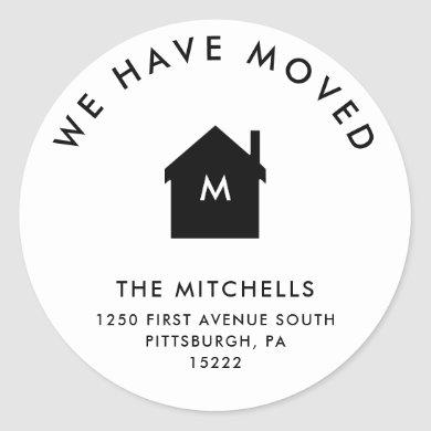 Simple Classic Black and White House | New Address Classic Round Sticker