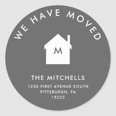 Simple Classic Gray and White House | New Address Classic Round Sticker