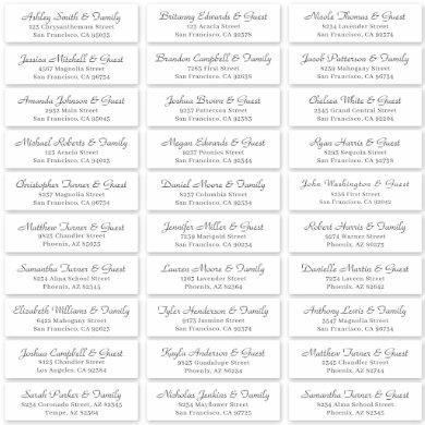 Simple Cursive Script Wedding Guest Names Address Sticker