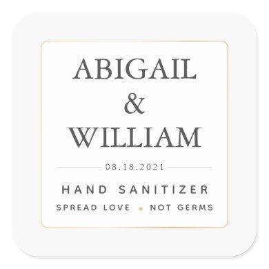 Simple Elegant Gold Wedding Hand Sanitizer Covid Square Sticker