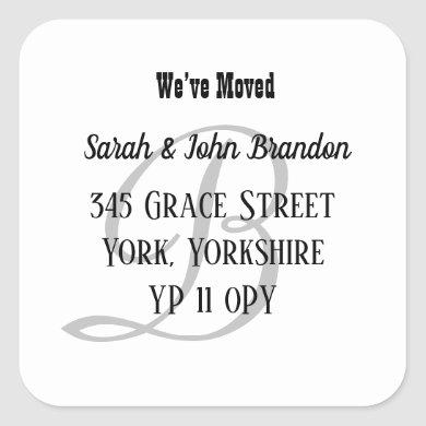 Simple Monogram We've Moved Announcement Square Sticker